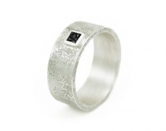 Men's Silver Rustic Band with Black Diamond