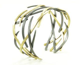14K Gold & Silver Woven Bracelet