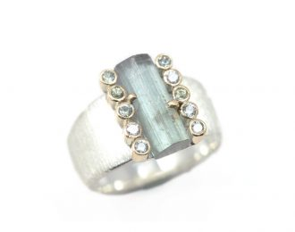 Crude Beauty Grey Tourmaline Ring